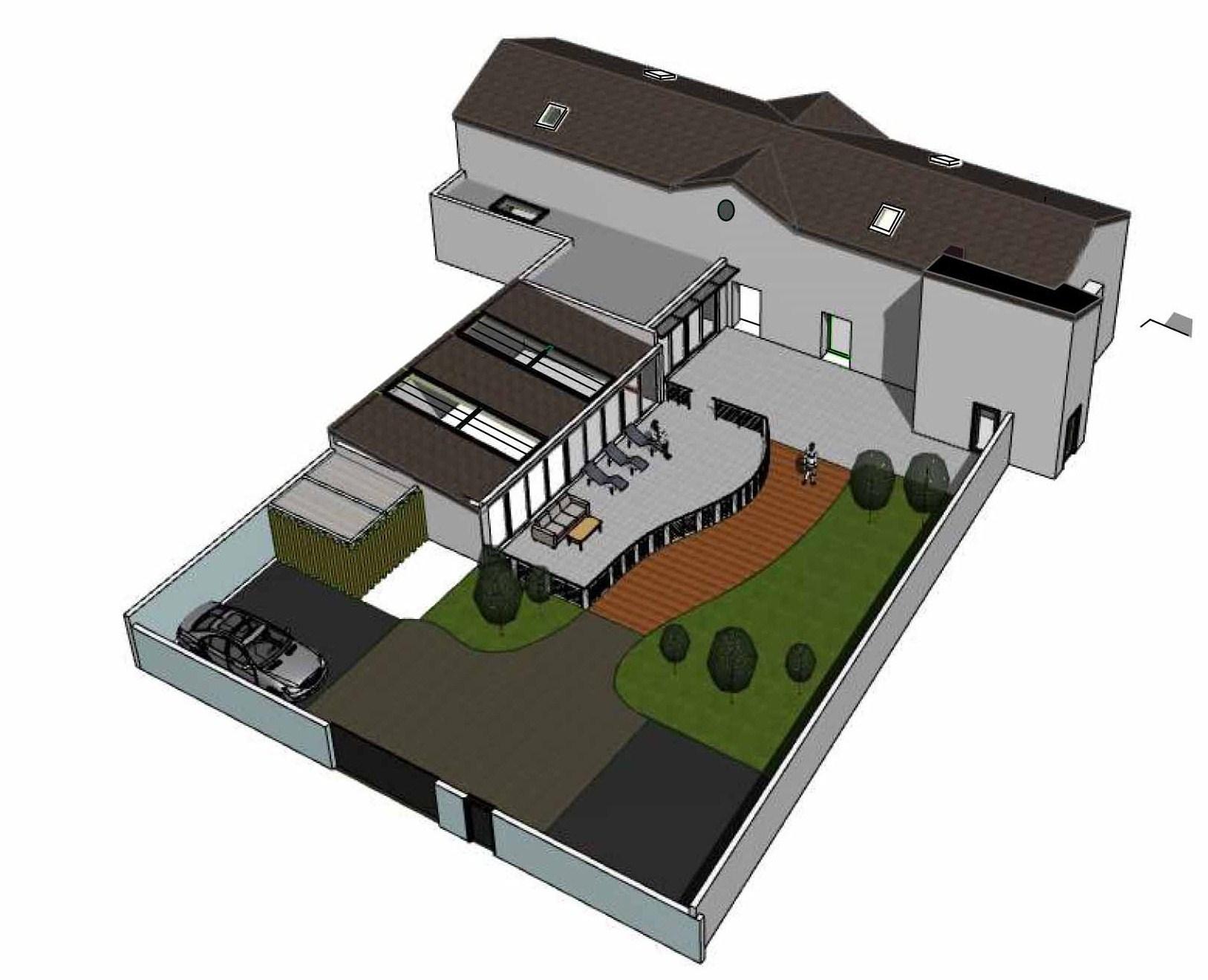 House and Cedar House - projection 3D